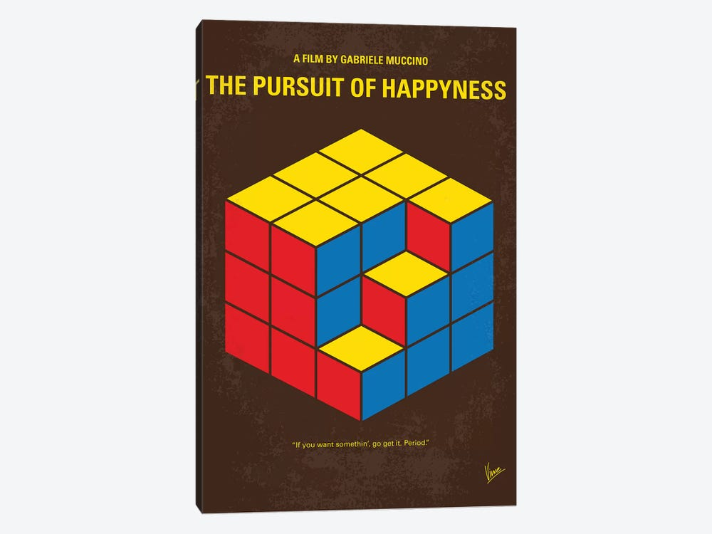 The Pursuit Of Happyness Minimal Movie Poster by Chungkong 1-piece Canvas Art Print