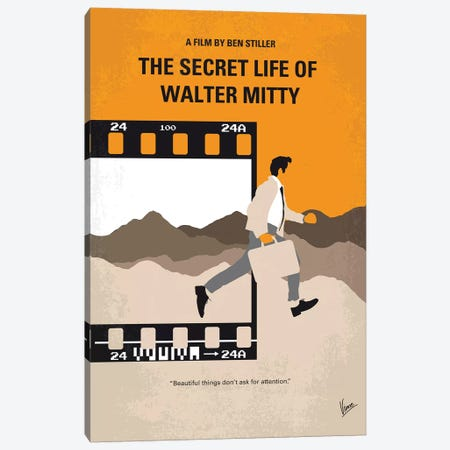 The Secret Life Of Walter Mitty Minimal Movie Poster Canvas Print #CKG1069} by Chungkong Canvas Wall Art