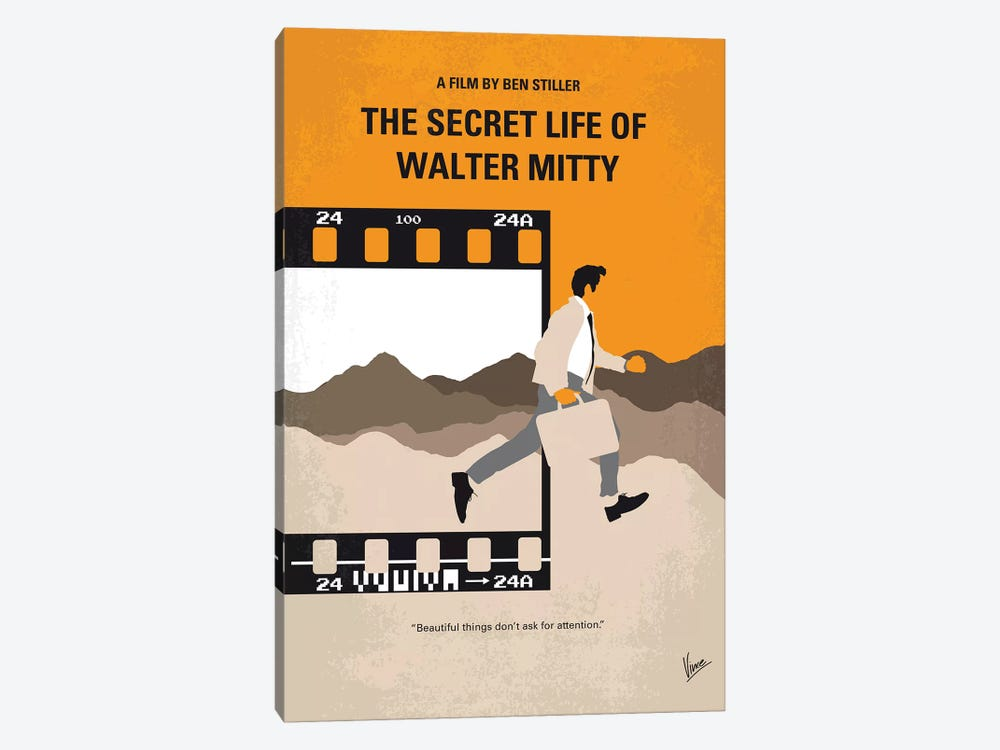 The Secret Life Of Walter Mitty Minimal Movie Poster by Chungkong 1-piece Canvas Artwork