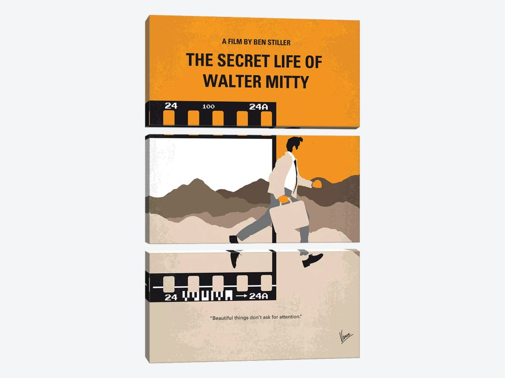 The Secret Life Of Walter Mitty Minimal Movie Poster by Chungkong 3-piece Canvas Art