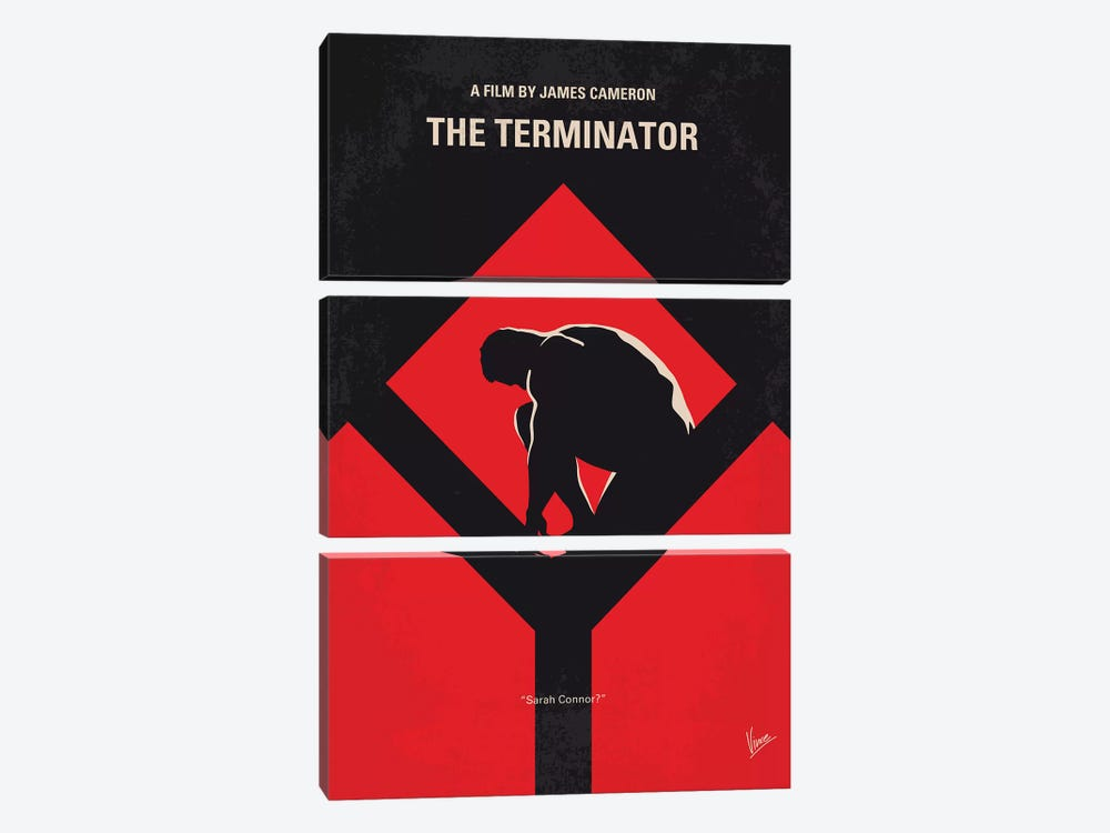 The Terminator Minimal Movie Poster by Chungkong 3-piece Canvas Art Print