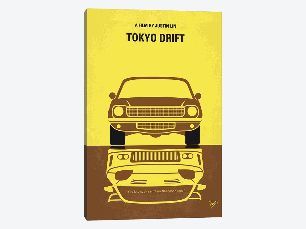 Tokyo Drift Minimal Movie Poster by Chungkong 1-piece Canvas Artwork