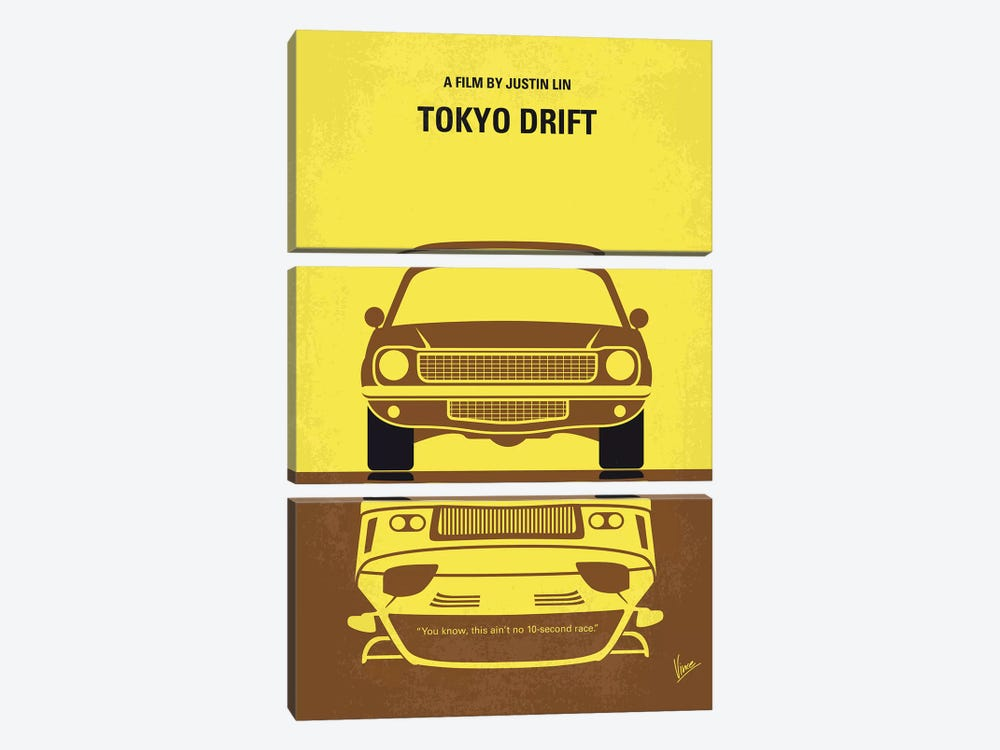 Tokyo Drift Minimal Movie Poster by Chungkong 3-piece Canvas Artwork