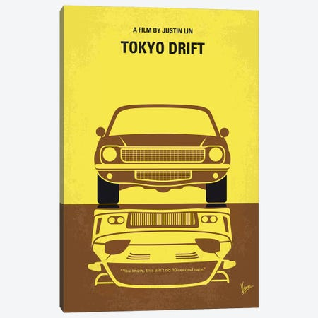 Tokyo Drift Minimal Movie Poster 3-Piece Canvas #CKG1078} by Chungkong Canvas Print