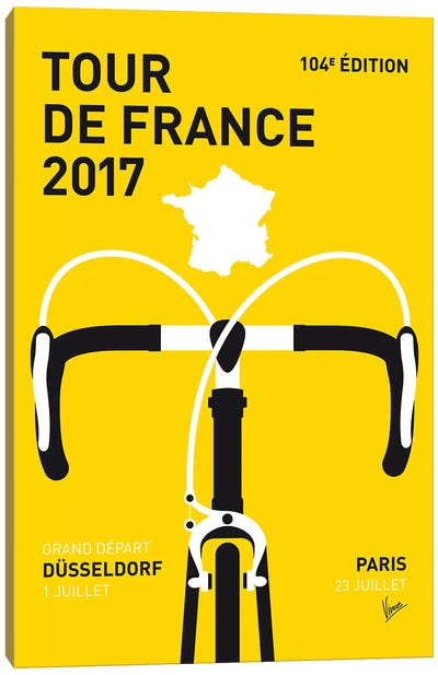Tour de France 2017 Minimal Poster Canvas Art Print