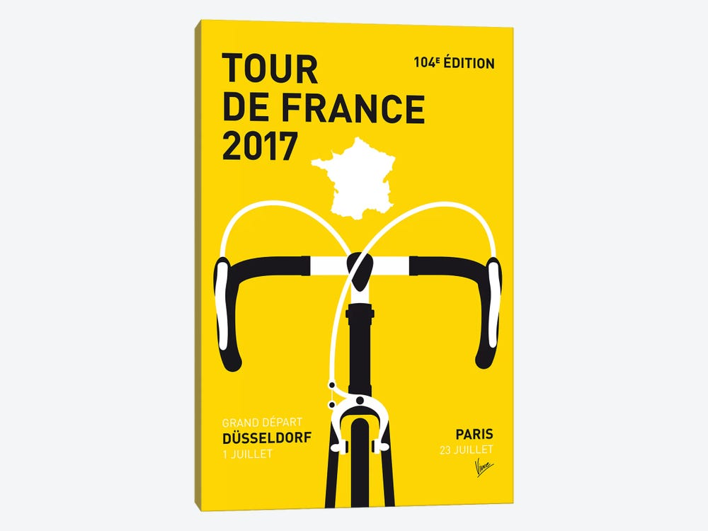 Tour de France 2017 Minimal Poster by Chungkong 1-piece Canvas Print