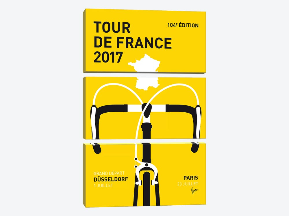 Tour de France 2017 Minimal Poster by Chungkong 3-piece Canvas Print