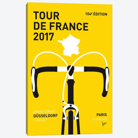 Tour de France 2017 Minimal Poster 3-Piece Canvas #CKG1079} by Chungkong Canvas Print