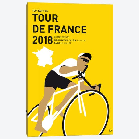 Tour de France 2018 Minimal Poster Canvas Print #CKG1080} by Chungkong Canvas Artwork