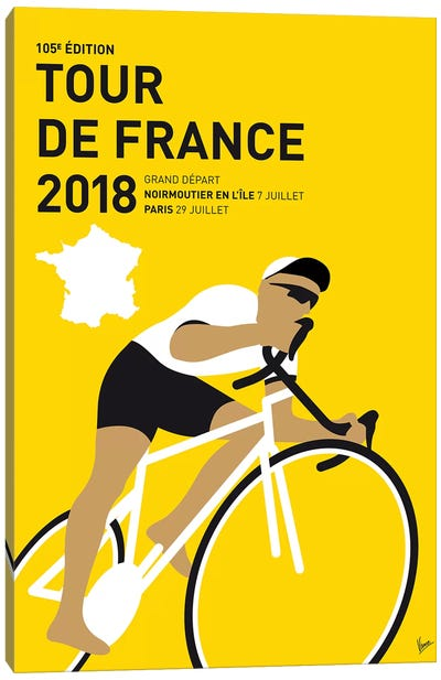 Tour de France 2018 Minimal Poster Canvas Art Print