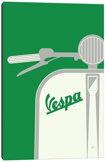 Vespa From Italy With Love Green Canvas Art Print