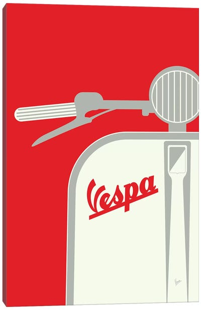Vespa From Italy With Love Red Canvas Art Print