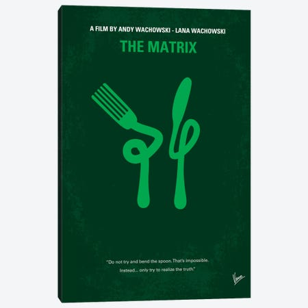 The Matrix (Don't Try And Bend The Spoon) Minimal Movie Poster Canvas Print #CKG108} by Chungkong Canvas Artwork