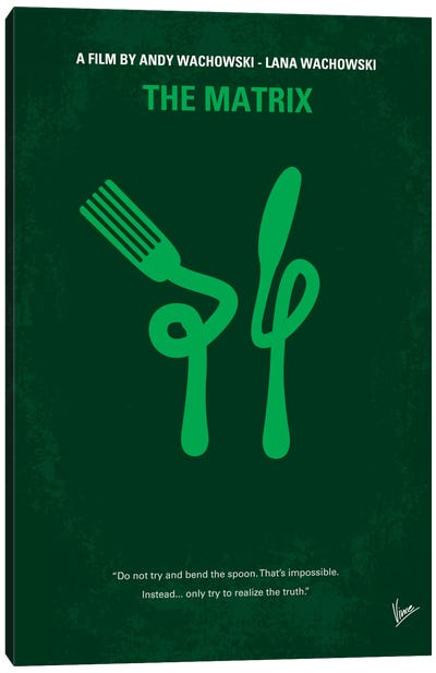 The Matrix (Don't Try And Bend The Spoon) Minimal Movie Poster Canvas Art Print