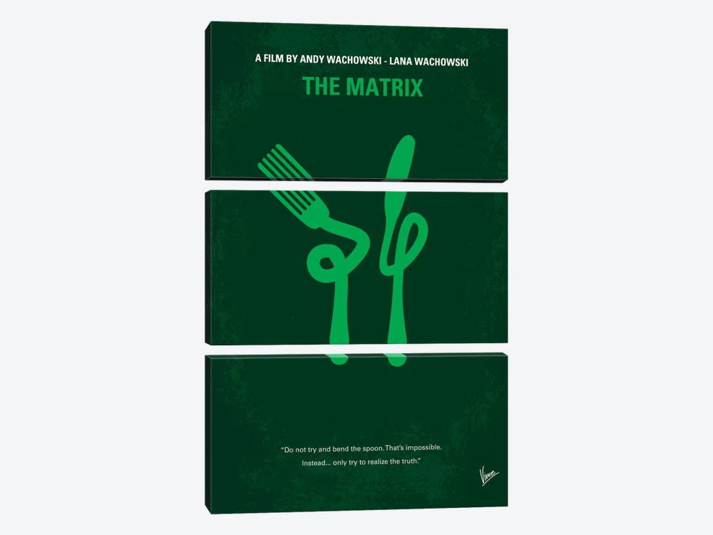 The Matrix (Don't Try And Bend The Spoon) Minimal Movie Poster by Chungkong 3-piece Canvas Art