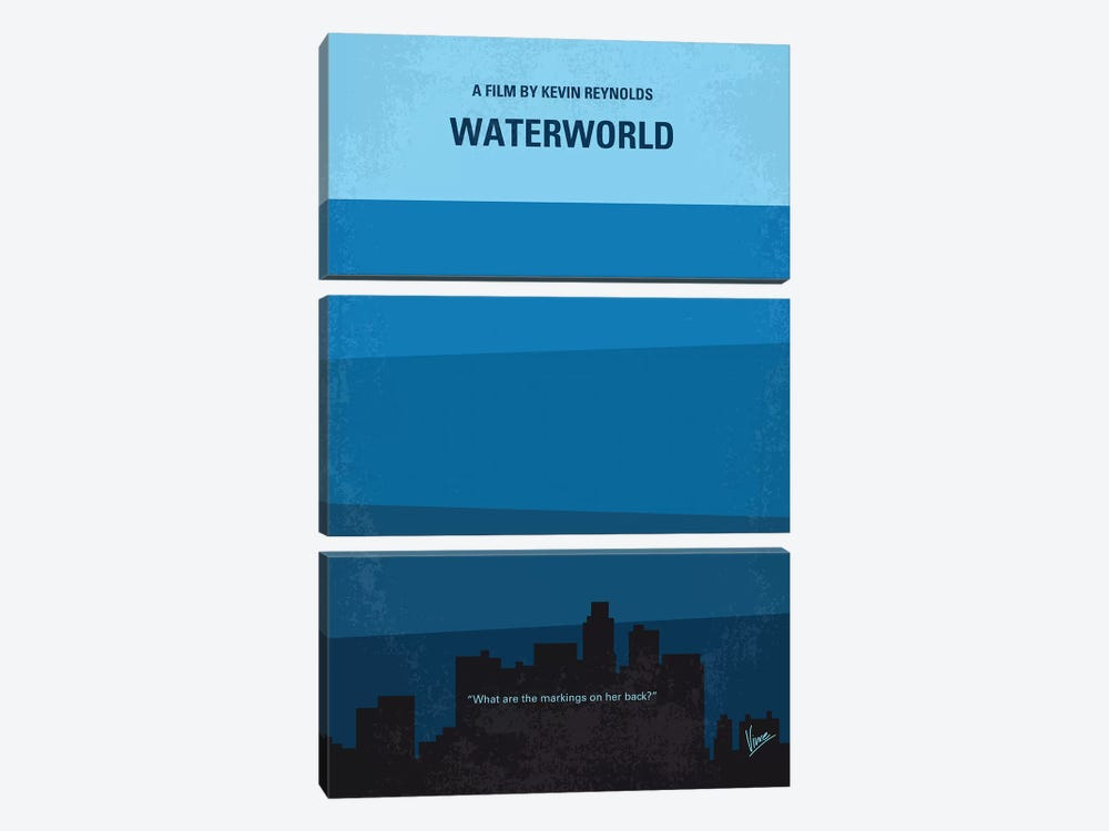 Waterworld Minimal Movie Poster by Chungkong 3-piece Canvas Art Print