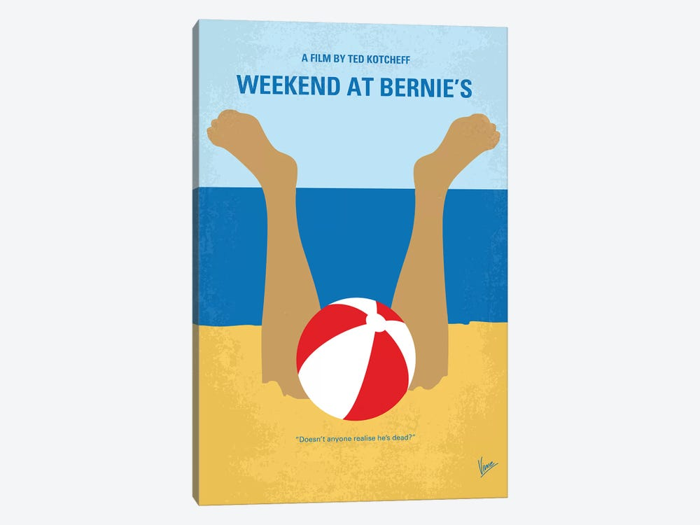 Weekend At Bernie's Minimal Movie Poster by Chungkong 1-piece Canvas Wall Art