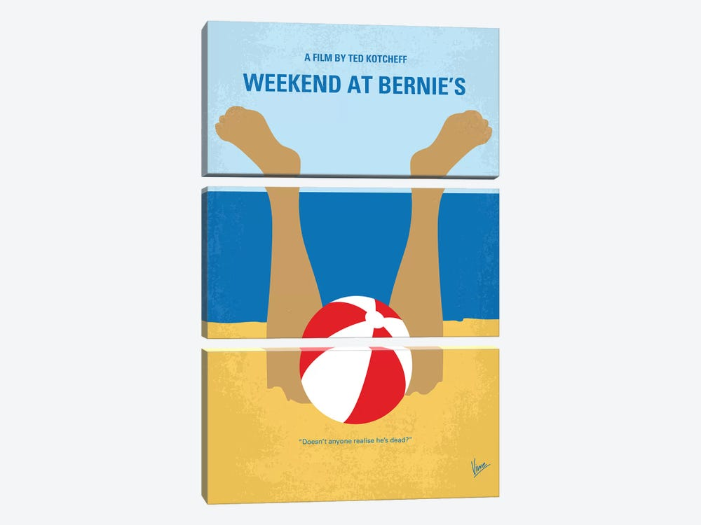Weekend At Bernie's Minimal Movie Poster by Chungkong 3-piece Canvas Artwork