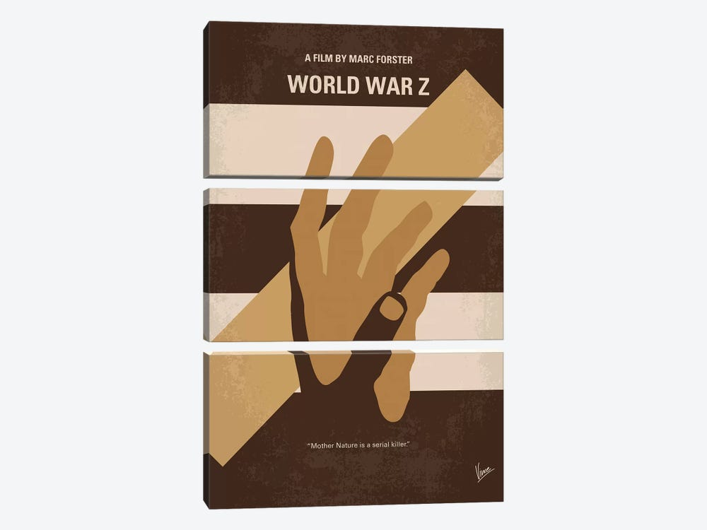 World War Z Minimal Movie Poster by Chungkong 3-piece Canvas Art Print