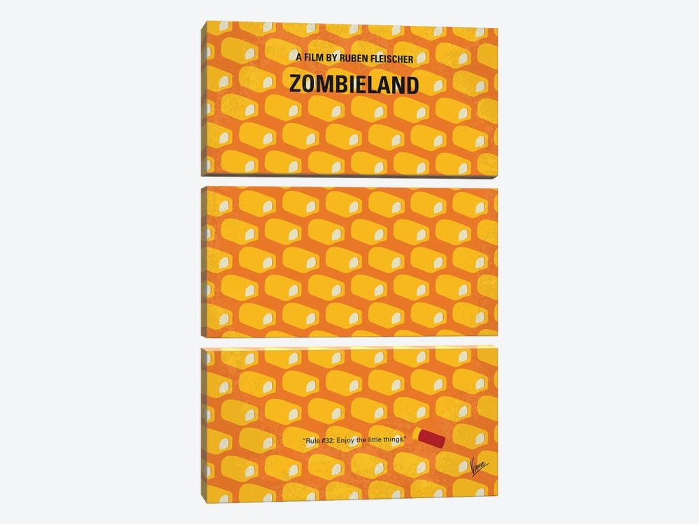 Zombieland Minimal Movie Poster by Chungkong 3-piece Canvas Wall Art