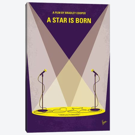 A Star Is Born Minimal Movie Poster Canvas Print #CKG1099} by Chungkong Art Print