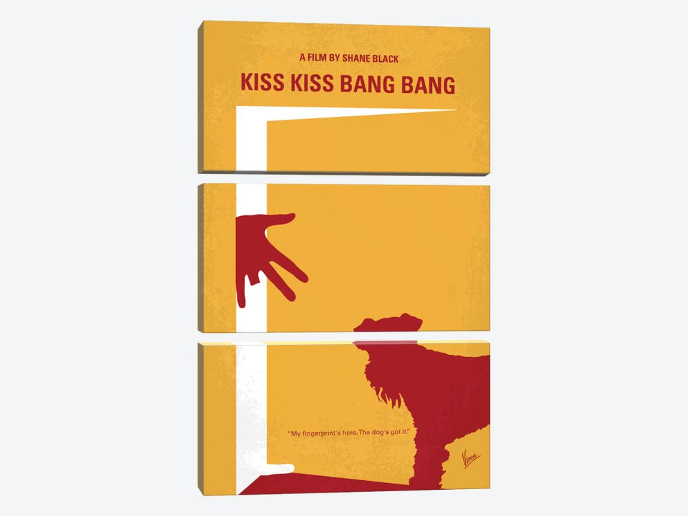 Kiss Kiss Bang Bang Minimal Movie Poster by Chungkong 3-piece Canvas Artwork