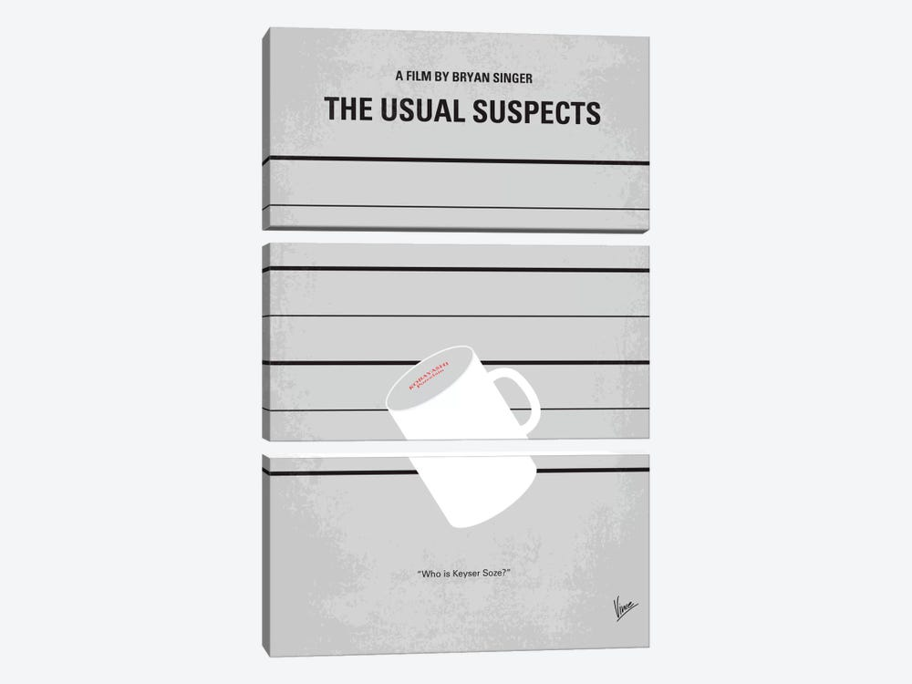 The Usual Suspects Minimal Movie Poster by Chungkong 3-piece Canvas Art Print