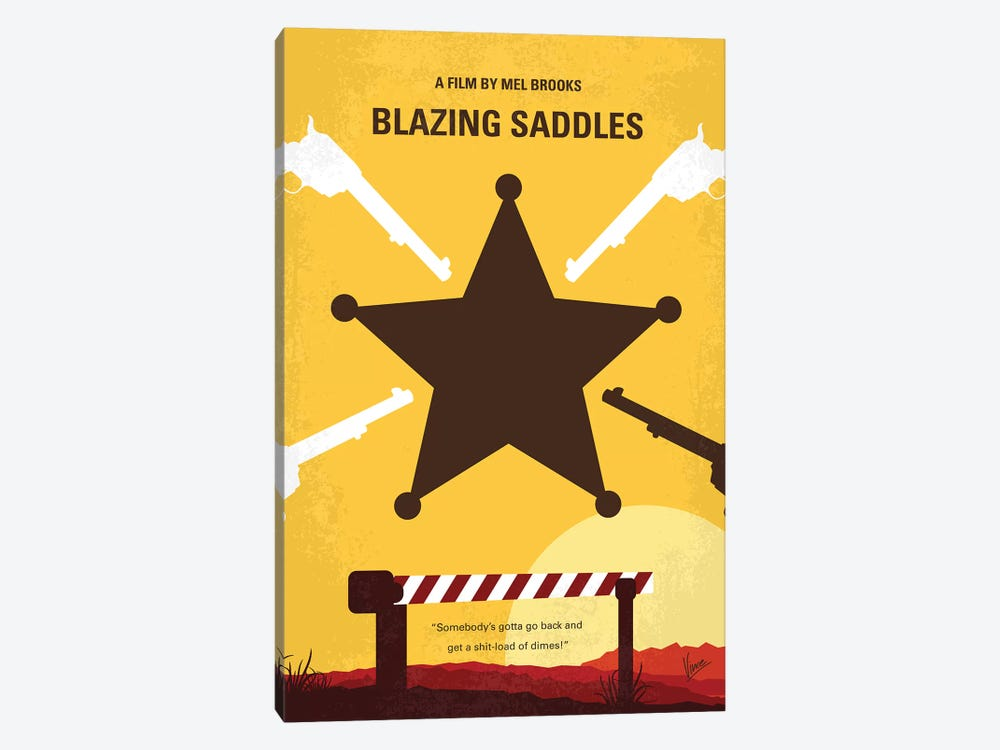 Blazing Saddles Minimal Movie Poster by Chungkong 1-piece Canvas Art Print