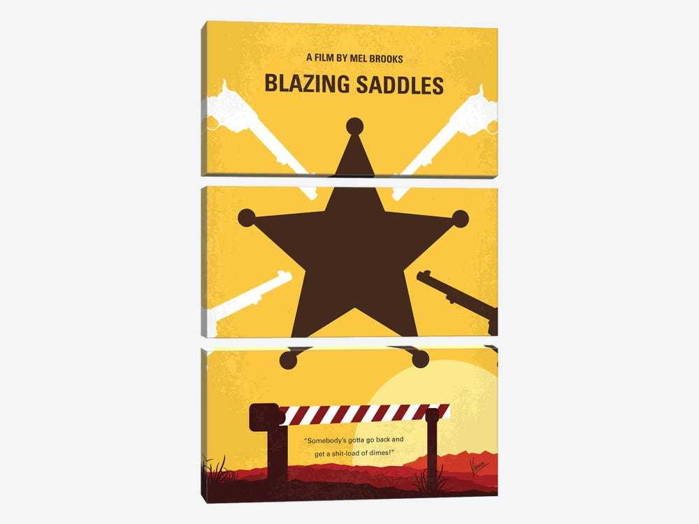 Blazing Saddles Minimal Movie Poster by Chungkong 3-piece Canvas Print