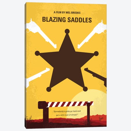 Blazing Saddles Minimal Movie Poster Canvas Print #CKG1112} by Chungkong Canvas Art