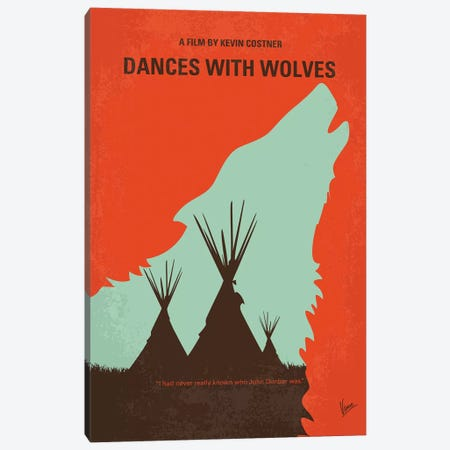Dances With Wolves Minimal Movie Poster Canvas Print #CKG1118} by Chungkong Canvas Wall Art