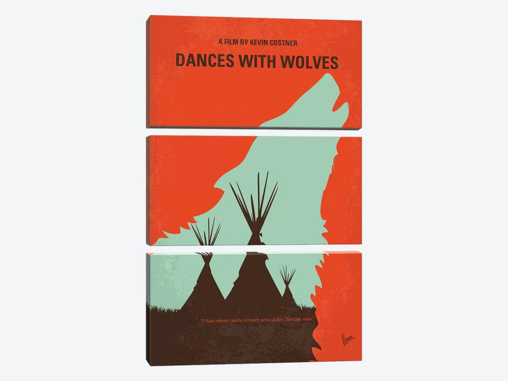 Dances With Wolves Minimal Movie Poster by Chungkong 3-piece Art Print