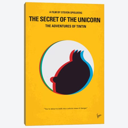 The Adventures Of Tintin: The Secret Of The Unicorn Minimal Movie Poster Canvas Print #CKG111} by Chungkong Canvas Art Print