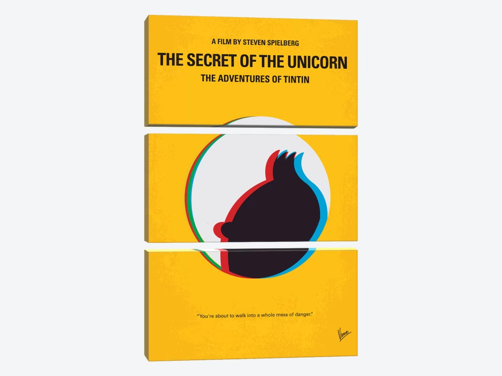 The Adventures Of Tintin: The Secret Of The Unicorn Minimal Movie Poster 3-piece Canvas Wall Art