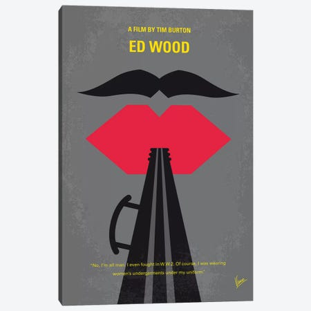 Ed Wood Minimal Movie Poster 3-Piece Canvas #CKG1125} by Chungkong Canvas Art