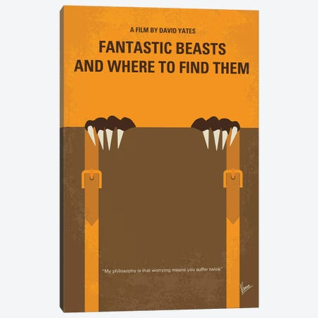Fantastic Beasts And Where To Find Them Minimal Movie Poster Canvas Print #CKG1126} by Chungkong Canvas Wall Art