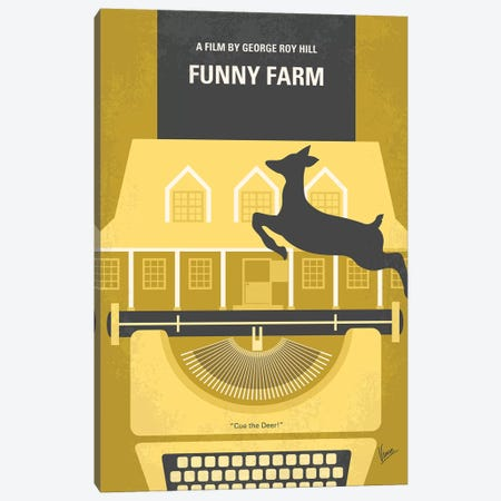 Funny Farm Minimal Movie Poster Canvas Print #CKG1130} by Chungkong Canvas Art