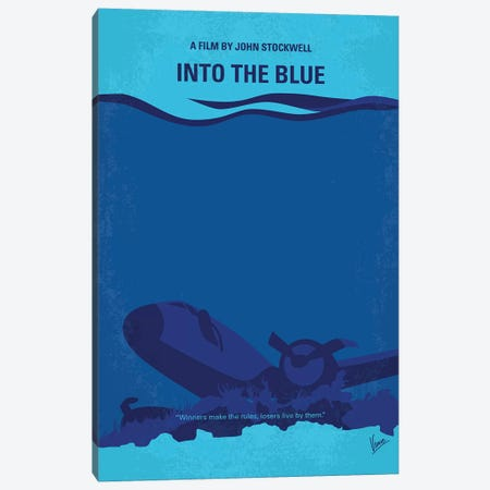 Into The Blue Minimal Movie Poster 3-Piece Canvas #CKG1136} by Chungkong Canvas Art Print