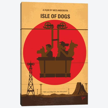 Isle Of Dogs Minimal Movie Poster Canvas Print #CKG1138} by Chungkong Canvas Artwork