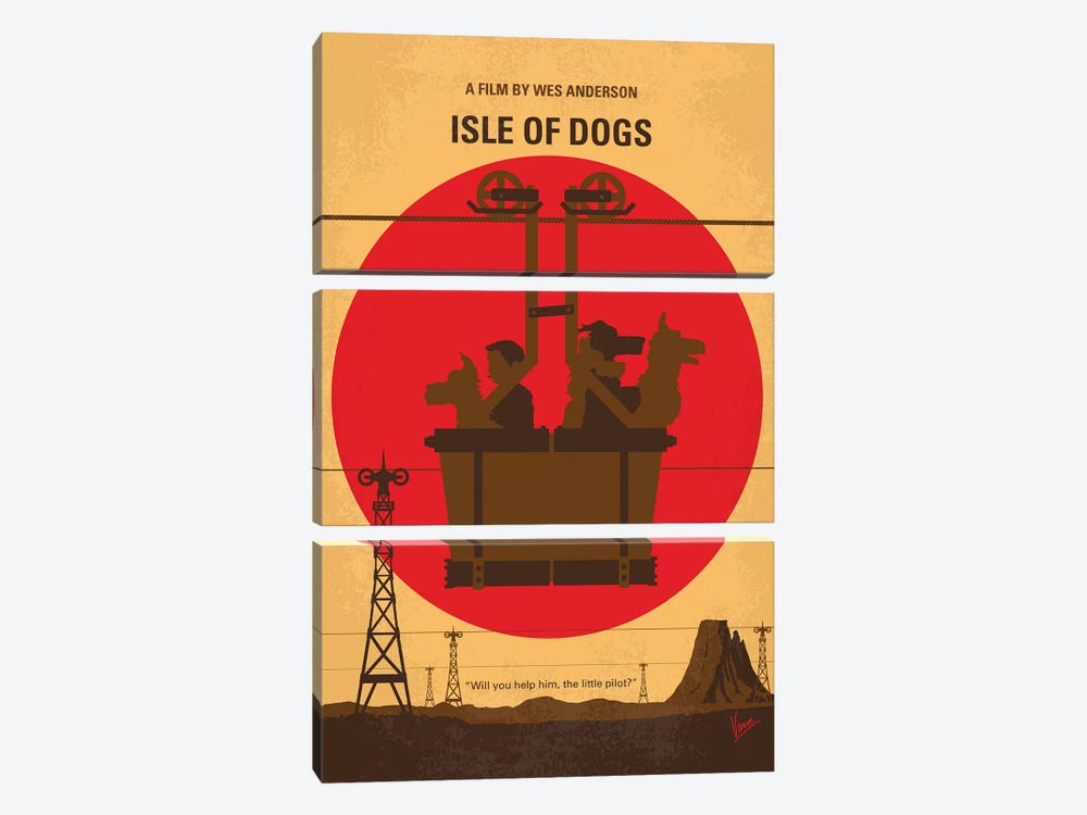 Isle Of Dogs Minimal Movie Poster by Chungkong 3-piece Art Print