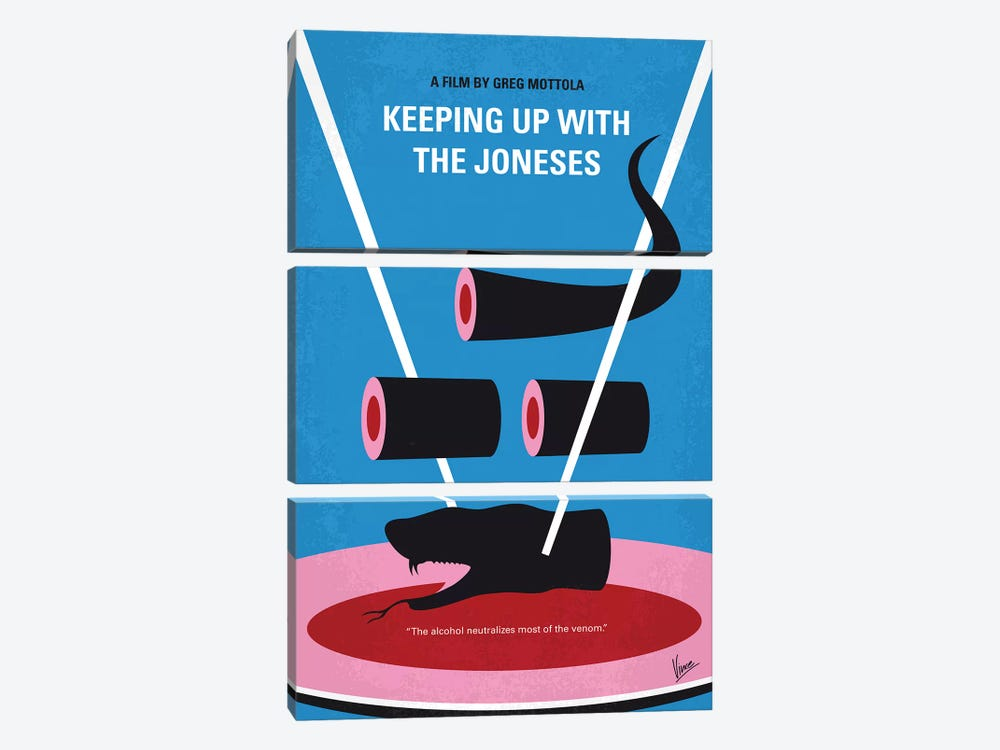 Keeping Up With The Joneses Minimal Movie Poster by Chungkong 3-piece Canvas Art