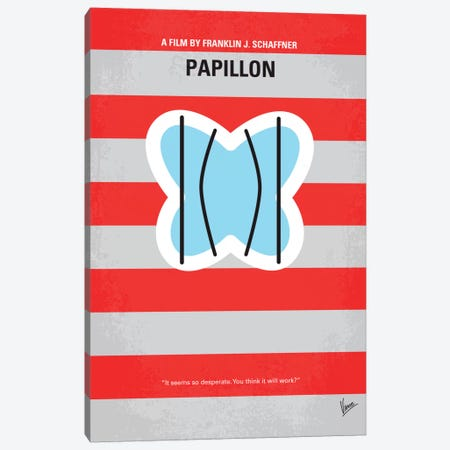 Papillon Minimal Movie Poster Canvas Print #CKG113} by Chungkong Art Print