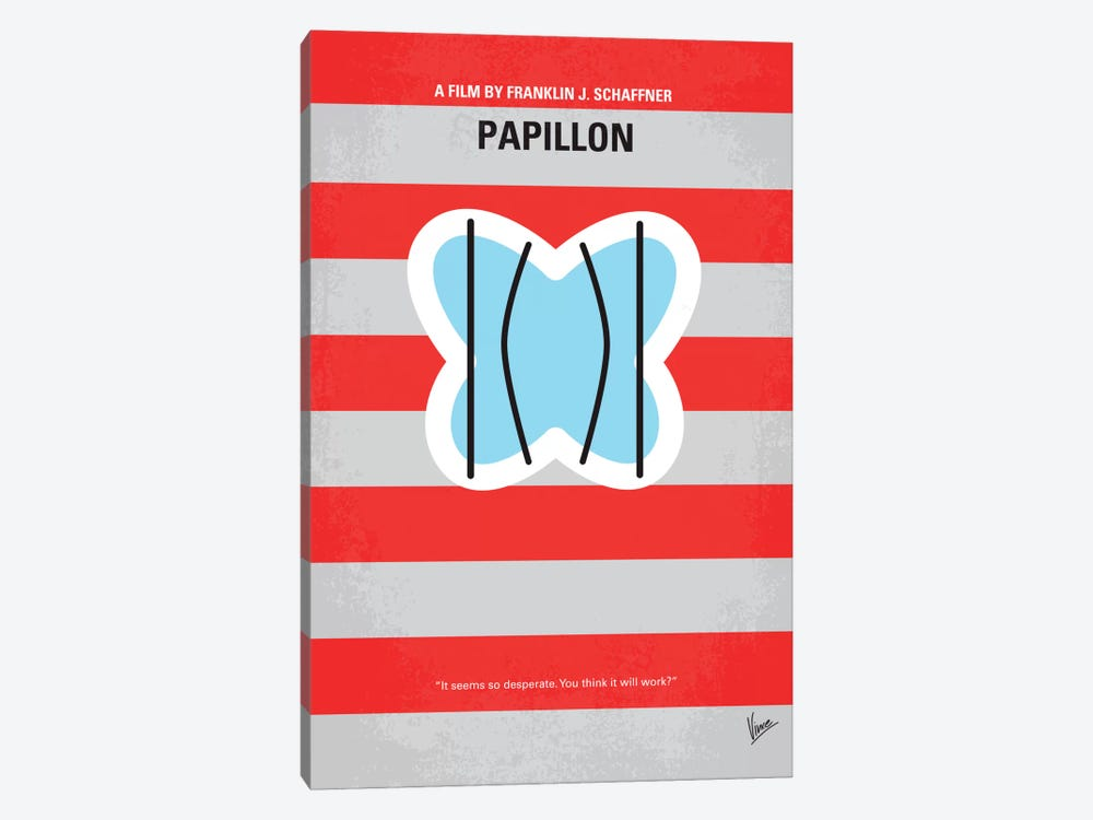 Papillon Minimal Movie Poster by Chungkong 1-piece Canvas Artwork