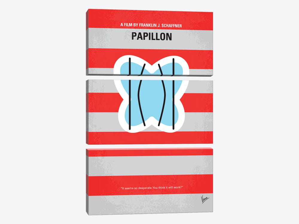 Papillon Minimal Movie Poster by Chungkong 3-piece Canvas Artwork