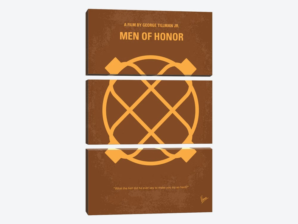 Men Of Honor Minimal Movie Poster by Chungkong 3-piece Canvas Art Print