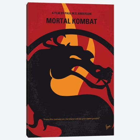 Mortal Kombat Minimal Movie Poster Canvas Print #CKG1151} by Chungkong Canvas Wall Art