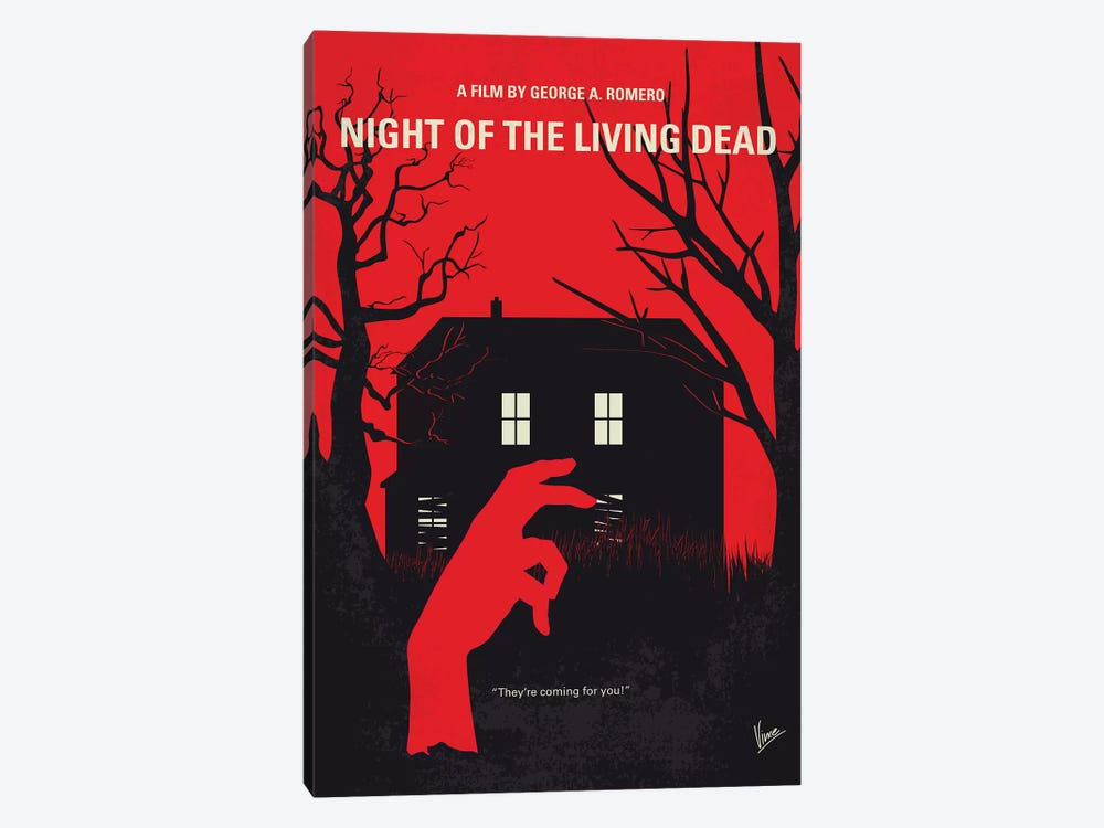 Night Of The Living Dead Minimal Movie Poster by Chungkong 1-piece Canvas Print