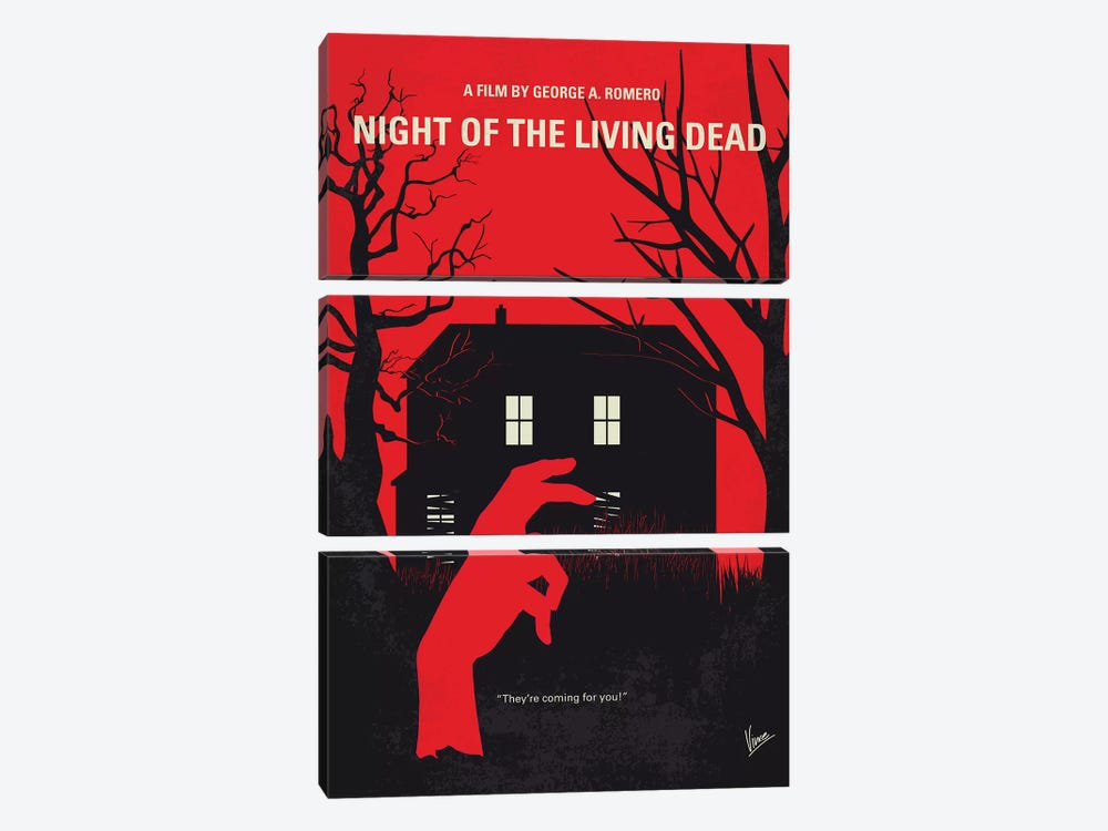 Night Of The Living Dead Minimal Movie Poster by Chungkong 3-piece Art Print