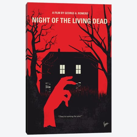 Night Of The Living Dead Minimal Movie Poster Canvas Print #CKG1152} by Chungkong Canvas Art