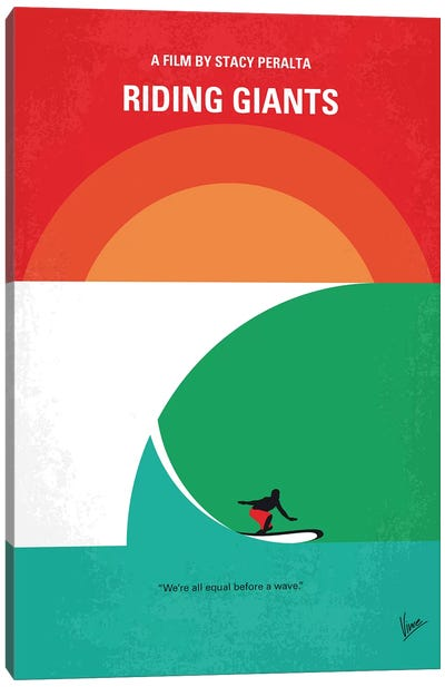Riding Giants Minimal Movie Poster Canvas Art Print